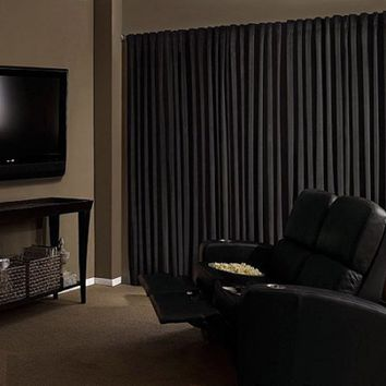 "Absolute Zero Velvet Blackout Home Theater Curtain Panel, 50""x95"", Black"
