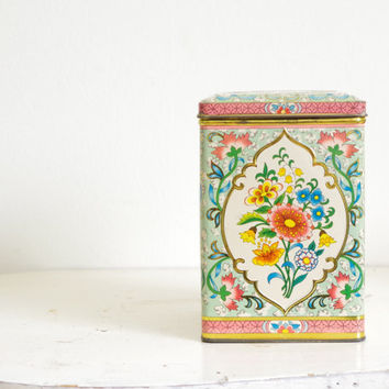 vintage floral tea tin canister // collectible vintage decorative floral tea tin canister // tall pink and aqua canister with hinged lid