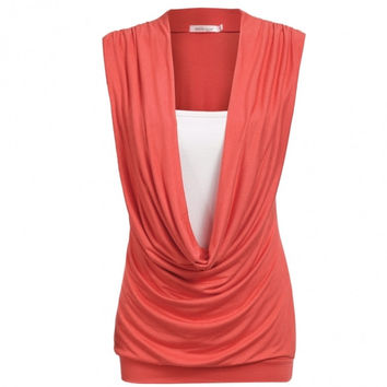 Women's Cowl Gathered Neck Contrast Insert Ladies Sleeveless Stretch Long Tops Tank Top