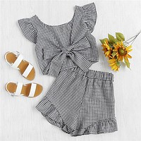 GINGHAM RUFFLED BOW SHORTS SET