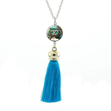 2017 New Style Alice In Wonderland Necklaces Cheshire Cat Pendant Fairy Tale Necklace Tassel Pendants Women Glass Jewelry