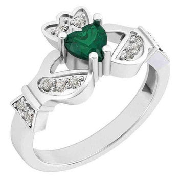 Claddagh Ring, Diamond Claddagh Ring, Green Heart Shape Stone Celtic Ring Celtic Engagement Ring, Irish Claddagh Ring, Green Irish Ring