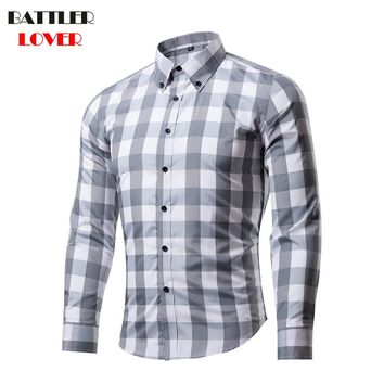BATTLERLOVER Men Shirt Slim Fit Plaid Shirt Chemise Homme Long Sleeve Casual Grid Shirt Camisas Hombre Mens Brand Dress Shirts