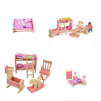 Bathroom Furniture Bunk Bed House Wood Miniature Furniture for Kids Play Toy