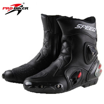 face9145fb4 BIKERS Motorcycle Boots Wear-resistant Microfiber Leather Racing