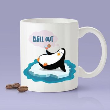 Chill Out Cute Penguin Coffee Mug  [Gift Idea - Makes A Fun Present - Gift For Her - Gift For Him]