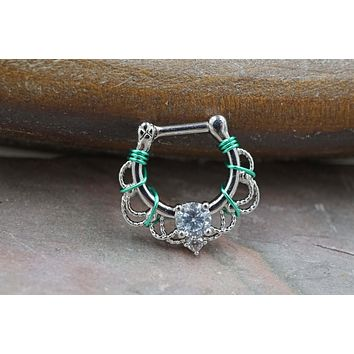 CZ Crystal Clicker Hoop Septum Clicker 16 Gauge