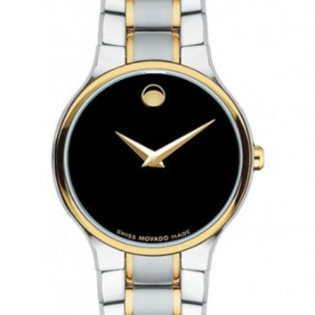 Movado Serio Ladies Black Museum Dial Two Tone Stainless Steel 26mm Watch 0606389