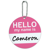 Cameron Hello My Name Is Round ID Card Luggage Tag