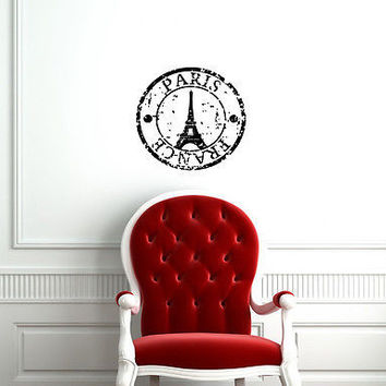 FRANCE PARIS EIFFEL TOWER STAMP  WALL VINYL STICKER DECAL MURAL ART A282