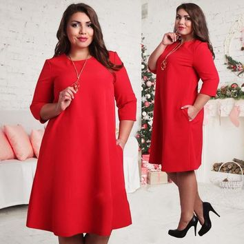 WJ 2016 Sexy Women Plus Size Autumn 3/4 Sleeve Party Dress Boho Beach Casual Loose Sundress Red Green Vestidos