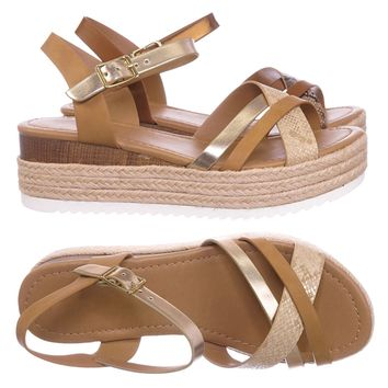 Anita Espadrille Flatform Wedge Sandal - Color Combo Sharktooth Open Toe Shoe