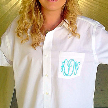 Men's Oversized Monogrammed Shirt for Bride and Bridesmaids- Great for sorority too