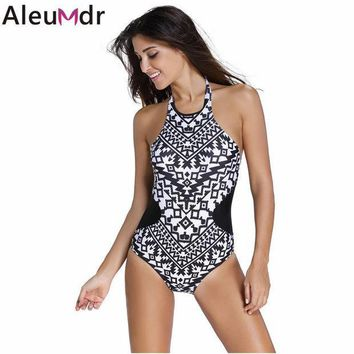 PEAPUNT 3 colors Monochrome Colorful Tribal Print High Neck One Piece Maillot women 2016 swimwear bathing suit swimsuit Monokini 41856