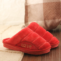 Couple Cotton Winter Ladies Thick Crust Home Anti-skid Slippers [9067742596]