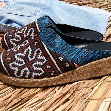 Earthy Embroidered  Batik vegan Unisex Clogs, Slides, Brown & Blues