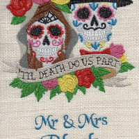 Burlap sugar skulls custom wedding art, wedding gift, valentines, embroidered wall art, decor, gifts for her, anniversary,