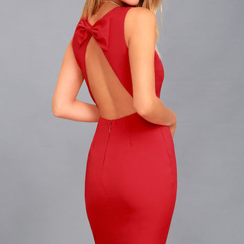 Be Mine Red Open Back Midi Dress