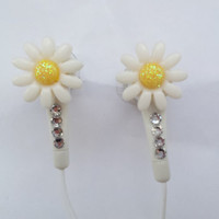 Petite Daisy flower earbuds with swarovski crystals