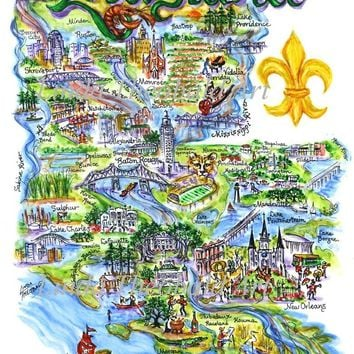 "Artwork, State of Louisiana Limited Edition Print, 16"" x 20"". Comes in Black and Yellow Mat (not pictured)."