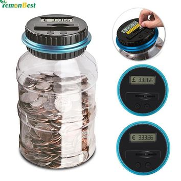 2.5L Piggy Bank Counter Coin Electronic Digital LCD Counting Coin Money Saving Box Jar