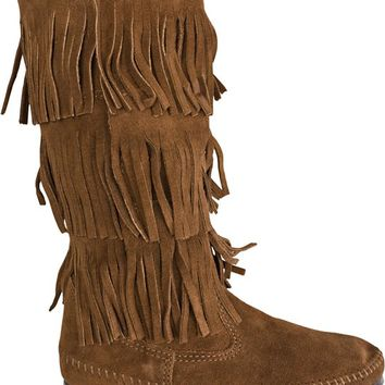 MINNETONKA CALF HI 3 LAYER FRINGE BOOT | Swell.com