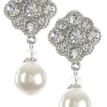 Glass Stone Cluster Pearl Charm Floral Earrings