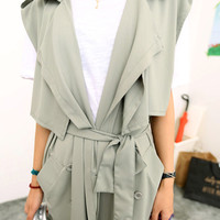 Fall Fashion Gray Coat with Waist Tie