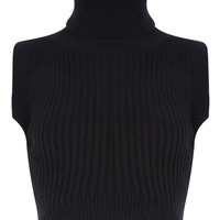 High Collar Knitted Top