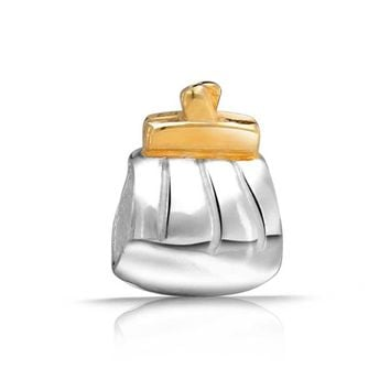 Gold Plated Clutch Purse Charm Bead .925 Sterling Silver
