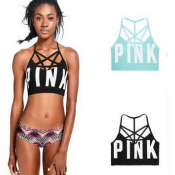 ONETOW Victoria's secret Pink Women's yoga fitness stretching movement seamless outside cross sports bra Day-First?