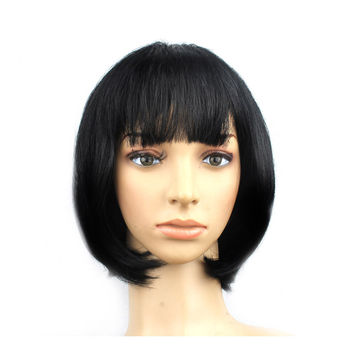 Women's Sexy Short Bob Cut Fancy Dress Wigs Play Costume Ladies Full Wig Party  Black