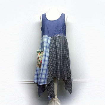 Boho Chic Dress, Shabby Chic Dress, Patchwork, Lagenlook Clothing, Country Chic Clothing, Upcycled Clothing for Women by Primitive Fringe