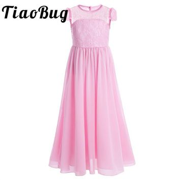 TiaoBug Girls Flower Tulle Lace Dress Children Kids Girls Clothes for Princess Pageant Wedding Bridesmaid Birthday Fancy Party