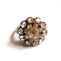 Art Deco Rhinestone Ring Prong Set Cluster Layered Cocktail Ring Silver Size 8 Stacked Multi Layer