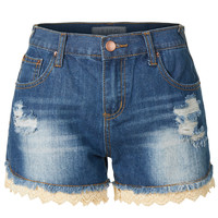 LE3NO Womens Distressed Washed Denim Jean Shorts with Crochet Hem