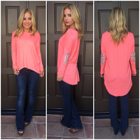 Struck By Silver Top - Neon Coral