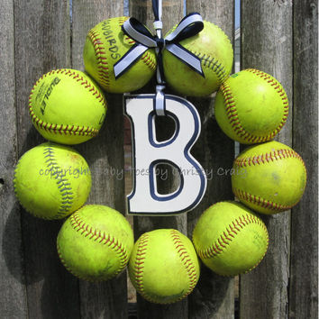 The Original Softball Wreath - with letter
