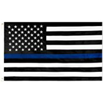 SOARS Thin Blue Line American Police Flag 4x6 ft- 210D Embroidered Stars and Sewn Stripes with Grommets Black White and Blue USA Flags