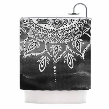"Li Zamperini ""Black & White Mandala"" Gray Abstract Shower Curtain"