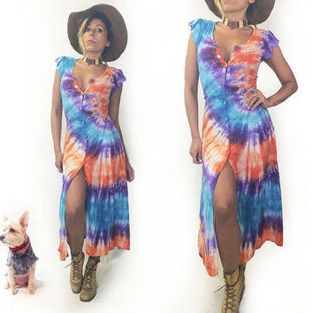 Vintage 1970's Sexy Festival Tie Dye Button Down Hippie Maxi Dress || Open Full Length Bohemian Vest || Size XS