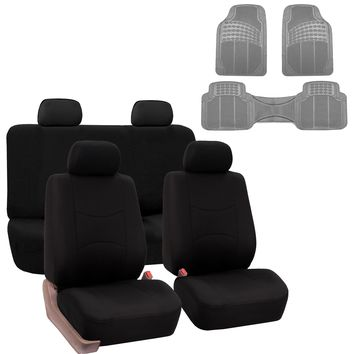 Car Seat Cover Full Set For For Auto Car SUV Truck Van w/ Floor Mat Black