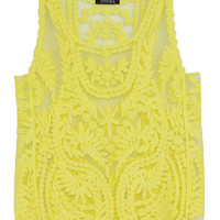 Yellow Lace Tank Top