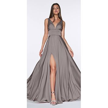 Cinderella Divine 7469 Sexy Long Prom Dress Smoke Evening Satin Gown