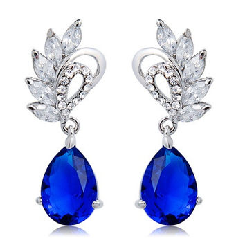 NEOGLORY Elegant Raindrop Blue Crystal Decorated Earrings