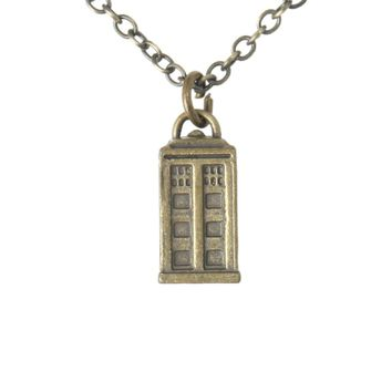 Licensed cool NEW BBC TV DOCTOR DR WHO TARDIS POLICE  BOX BURNISHED GOLD PENDANT NECKLACE