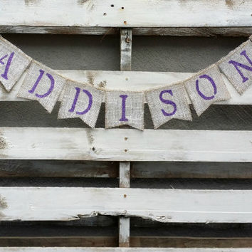 Personalized Baby Burlap Banner, Shabby Chic Baby Shower Decor, Baby Photo Prop, Maternity Photo Prop
