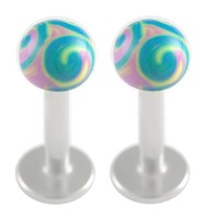 Handpainted Ball Labret [Gauge: 16G - 1.2mm / Length: 6mm / Ball Size: 3mm] 316L Surgical Steel & Acrylic (Purple) // Set of 2 (LHPD05)