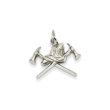 14k White Gold 2D Fire Department Insignia Charm