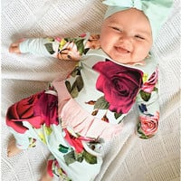 Baby Girls Clothes Set Flower Cute T- Shirts Tops Long Sleeve Pants Outfits